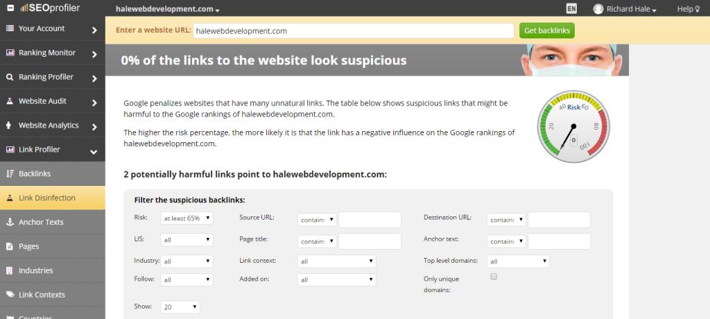 Find Harmful Backlinks For A Website