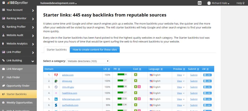 Backlink List For Link Builders