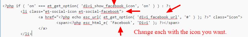 Adding social icons to Divi theme